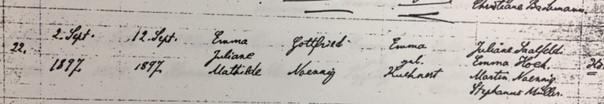 Emma Noennig baptism record Trinity Altenburg MO