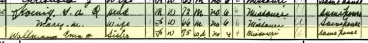 Emma Wallmann 1940 census Shawnee Township MO
