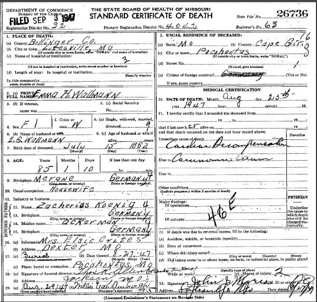 Emma Wallmann death certificate