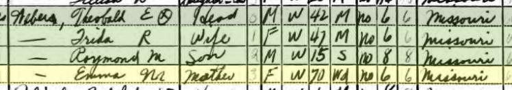Emma Weber 1940 census Brazeau Township MO