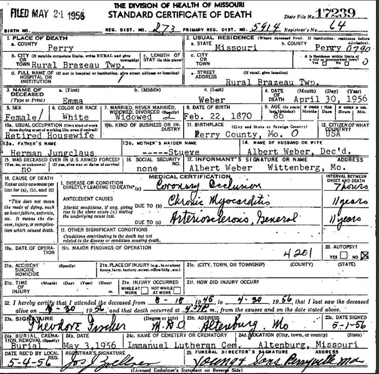 Emma Weber death certificate