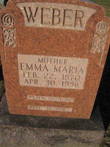 Emma Weber gravestone Immanuel Altenburg MO
