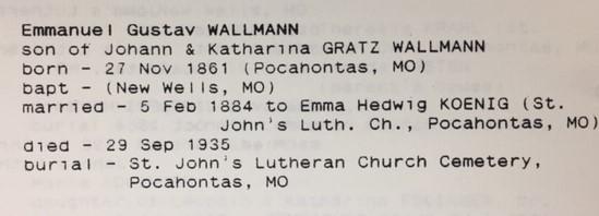 Emmanuel Wallmann confirmation record St. John's Pocahontas MO