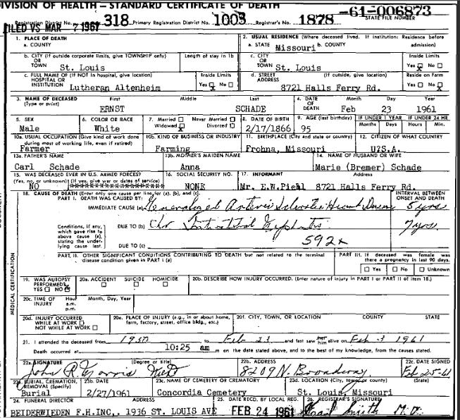 Ernst Schade death certificate