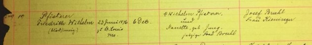 Friedrich Pfisterer baptism record Immanuel New Wells MO