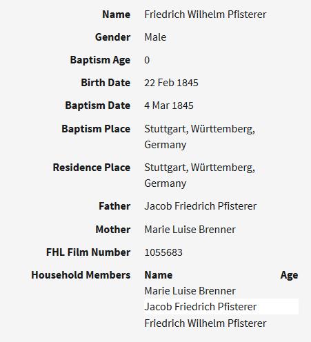 Friedrich Pfisterer baptism record Stuttgart Germany