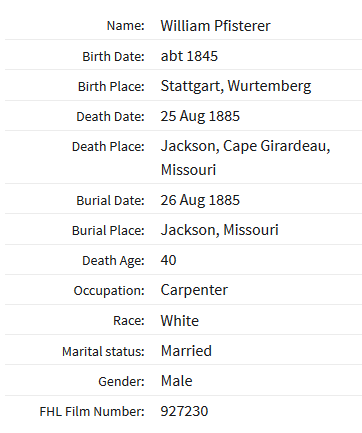 Friedrich Pfisterer death record Cape Girardeau MO