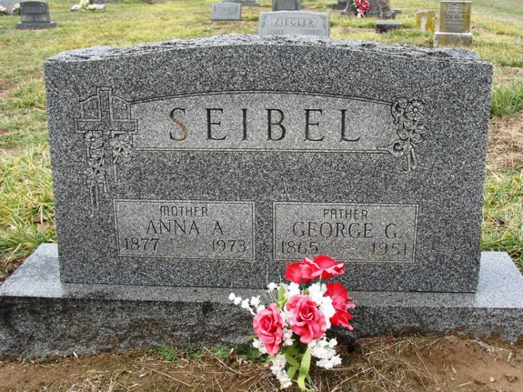 George and Anna Seibel gravestone Immanuel Harrison IL