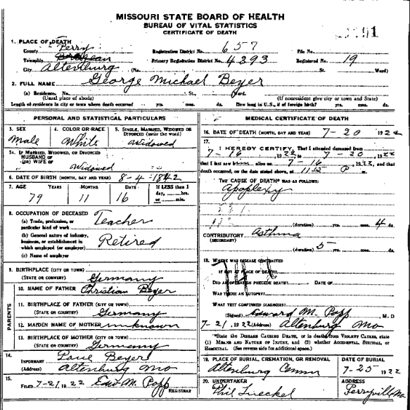 George Beyer death certificate