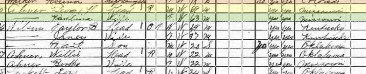 Gotthold Ahner 1920 census Henry Township Payne County OK
