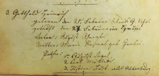 Gotthold Ahner baptism record Concordia Frohna MO