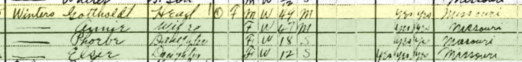 Gotthold Winter 1920 census Shawnee Township MO