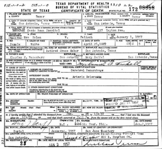 Helen Palisch death certificate TX
