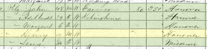 Henry Pilz 1870 census Brazeau Township MO
