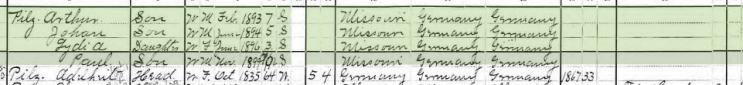 Henry Pilz 1900 census 2 Brazeau Township MO