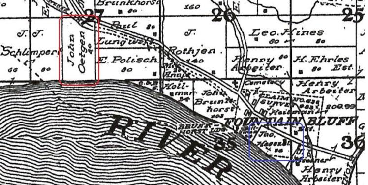 John Oetjen John Heeszel land map Fountain Bluff Township IL