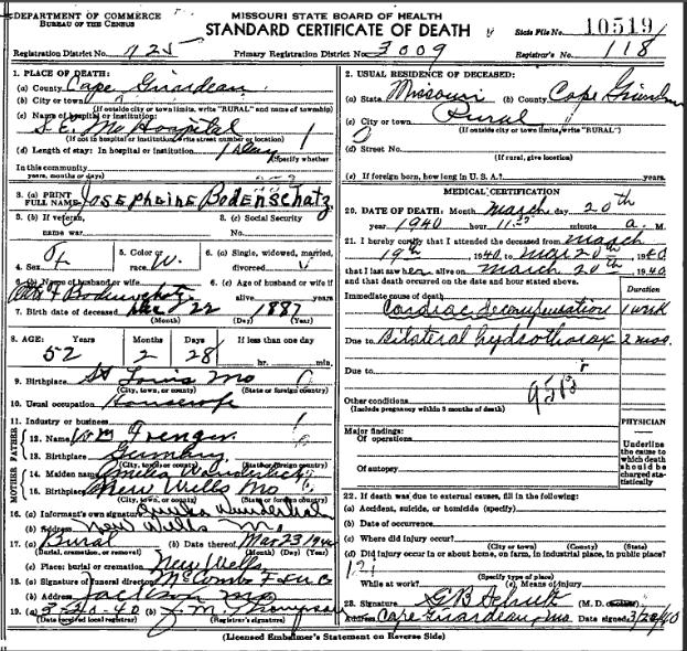 Josephine Bodenschatz death certificate