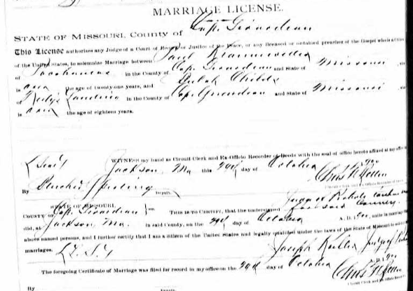 Kranawetter Childs marriage license