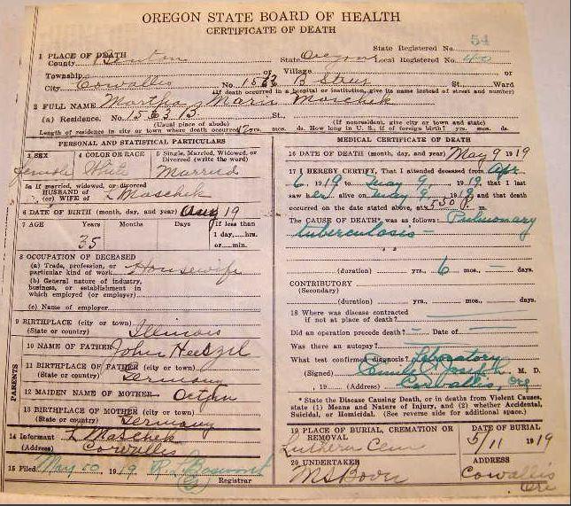 Martha Maschek Oregon death certificate