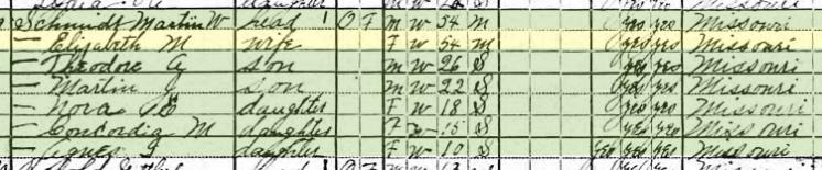 Martin Schmidt 1920 census Brazeau Township MO