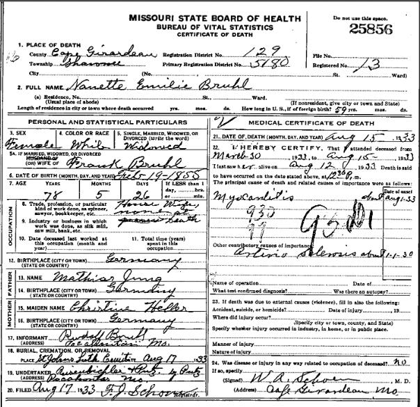 Nanette Bruhl death certificate