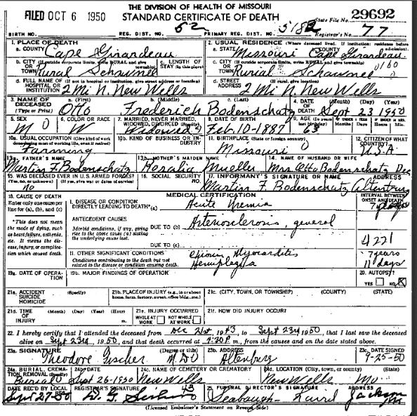 Otto Bodenschatz death certificate