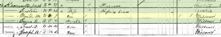 Paul Kranawetter 1880 census Shawnee Township MO