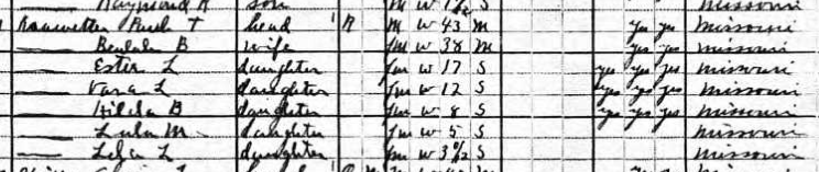 Paul Kranawetter 1920 census Shawnee Township MO