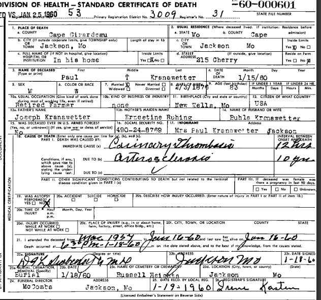 Paul Kranawetter death certificate
