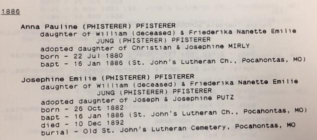 Pauline and Josephine Pfisterer info St. John's Pocahontas MO