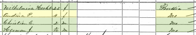 Pauline Hecht 1860 census 2 Brazeau Township MO
