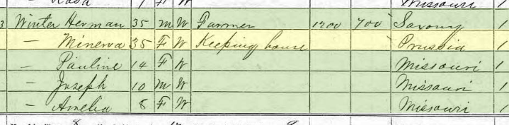 Pauline Hecht 1870 census Brazeau Township MO