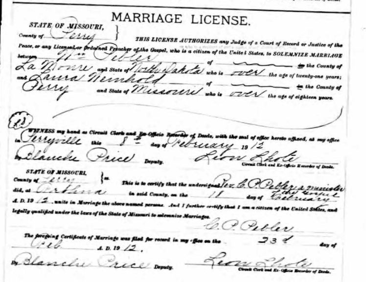 Pebler Weinhold marriage license
