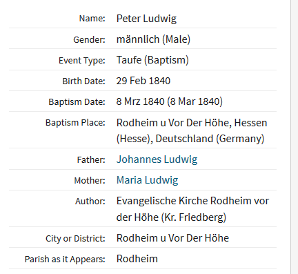 Peter Ludwig baptism record Germany