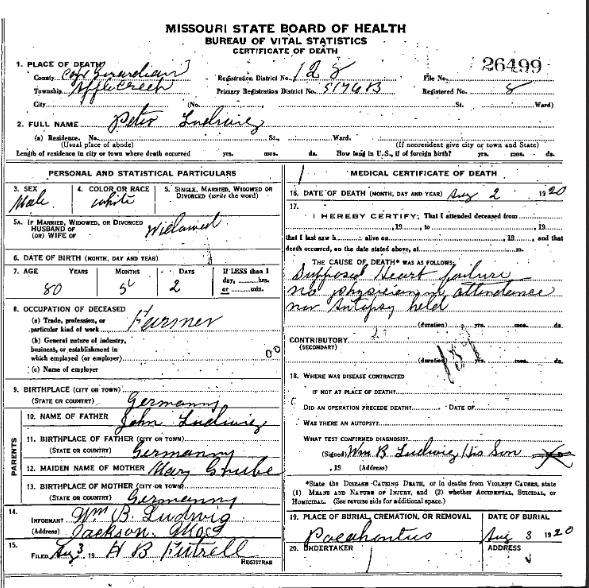 Peter Ludwig death certificate