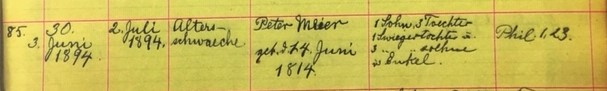 Peter Meier death record - Salem Farrar MO