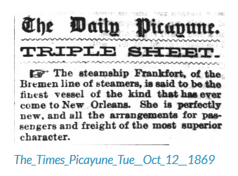 S.S. Frankfort newspaper article October 1869