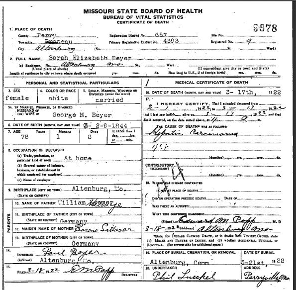 Sarah Beyer death certificate