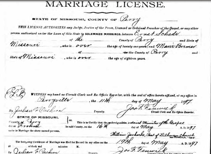Schade Bremer marriage license