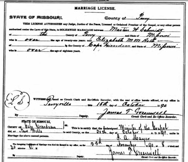 Schmidt Roth marriage license