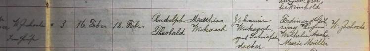 Theobald Wukasch baptism record Concordia Frohna MO