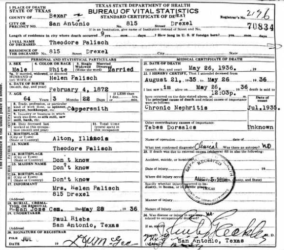 Theodore Palisch death certificate TX