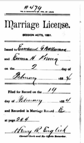 Wallmann Koenig marriage license