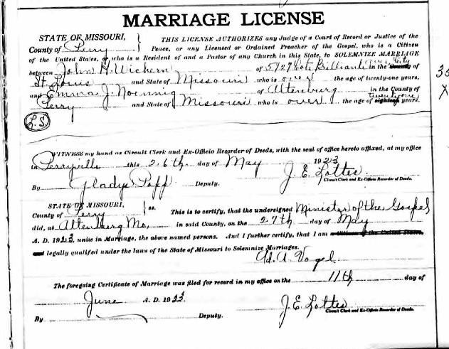 Wichern Noennig marriage license
