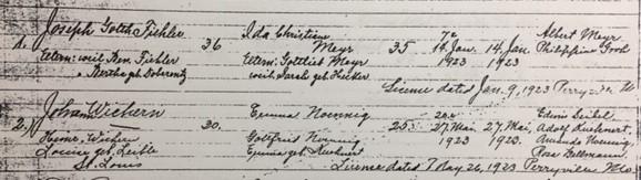Wichern Noennig marriage record Trinity Altenburg MO