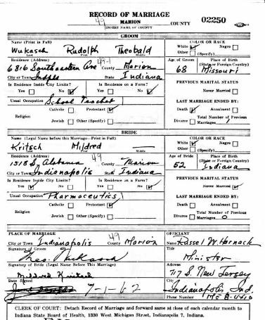 Wukasch Kritsch IN marriage license