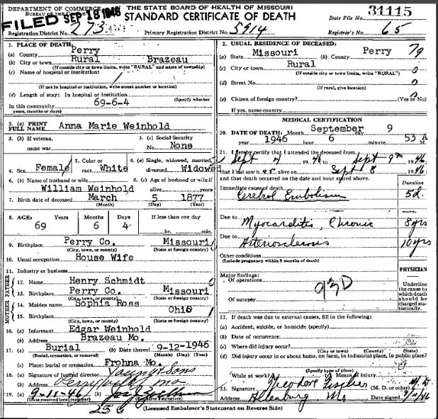 Anna Marie Weinhold death certificate