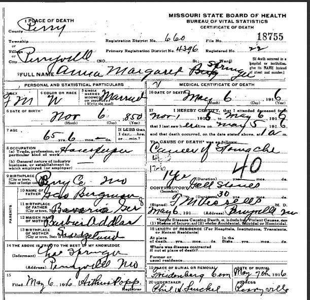 Anna Springer death certificate