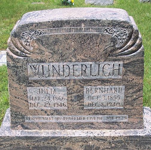 Bernhard and Julie Wunderlich gravestone Russell Heights Jackson MO
