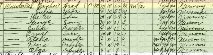 Bernhard Wunderlich 1920 census Shawnee Township MO